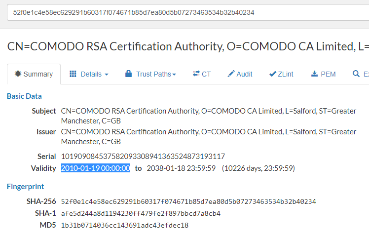 Checking details of a root certificate