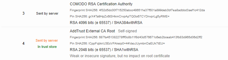 Root cert sent by server